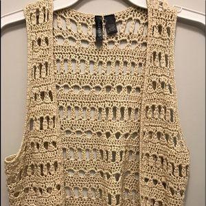 Full Tilt , crochet tassel vest , Size S/M